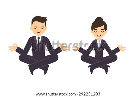 Cartoon businessman and woman in formal suits meditating in lotus pose. Isolated on white background. - stock vector