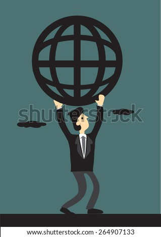 Cartoon businessman carrying a simplified wire mesh like globe symbol representing global network. - stock vector