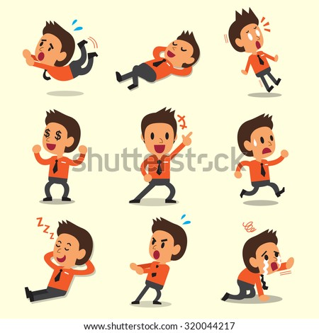 Cartoon businessman character poses on yellow background - stock vector