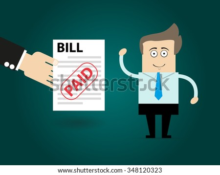 Cartoon businessman does not have money to pay bill - stock vector