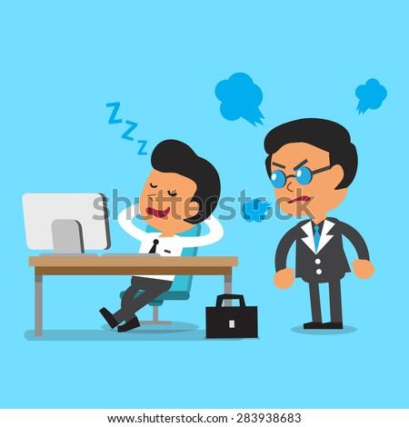 Cartoon businessman falling asleep in his office - stock vector
