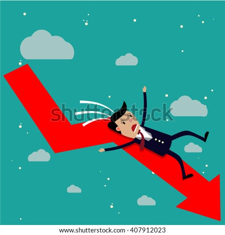 cartoon businessman falling from the red chart arrow. Loser, broke concept. vector illustration in flat design on green background - stock vector