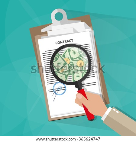 Cartoon businessman hand checking contract with a magnifying glass on a table before signing and see money. Contract inspection concept. vector illustration in flat design on green background - stock vector