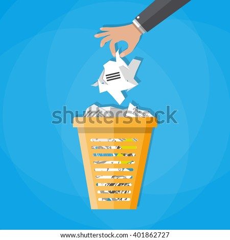 Cartoon businessman hand put paper in office trash recycle bin for garbage. Bin for papers. Vector illustration in flat design on blue background - stock vector