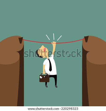 Cartoon businessman hanging on a rope over the cliffs, the risk but try to reach success, vector illustration. - stock vector