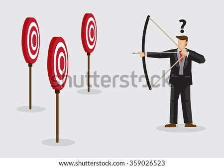 Cartoon businessman holding bow and arrow confused by multiple bulls eye target. Creative vector illustration on confusion due to lack of specific goal concept isolated on plain background. - stock vector
