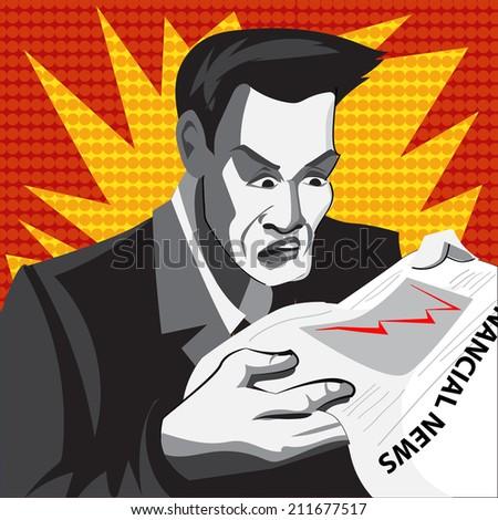 Cartoon businessman in panics. Comics style. - stock vector