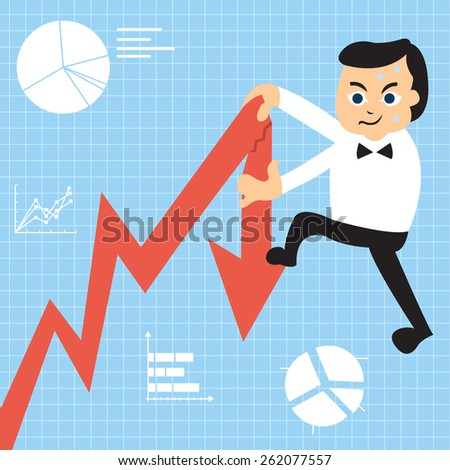 Cartoon businessman is trying to climb up on the growing graph, but he was too heavy so he broke it down. - stock vector