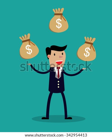 Cartoon businessman juggling three sacks with dollar signs. Vector illustration on financial and money management concept isolated on green background.  - stock vector