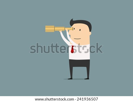 Cartoon businessman looking for success, opportunities, future business trends through a yellow telescope, flat illustration - stock vector