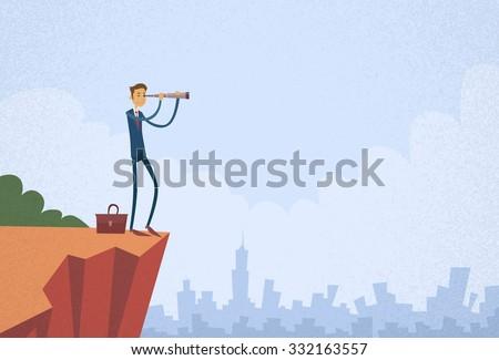 Cartoon Businessman Looking Through Telescope Standing on Top Mountain Cliff Flat Vector Illustration - stock vector