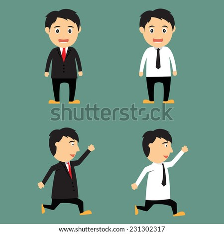 Cartoon businessman office worker in various poses for use in presentations and advertising vector illustration. - stock vector