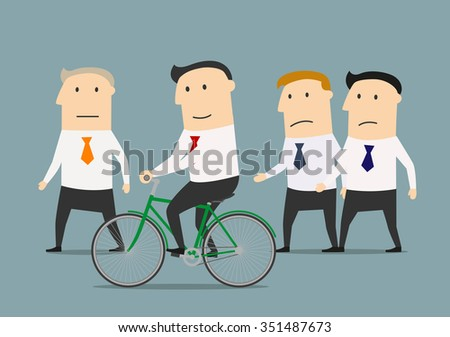 Cartoon businessman on bicycle overtaking his colleagues and mature boss. Skills development and competition advantages concept - stock vector