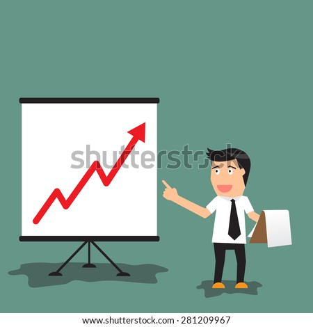 Cartoon businessman pointing at a board at a presentation of growing graph in business concept, vector illustration. - stock vector