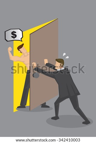 Cartoon businessman pushing door to shut out hostile muscular man demanding for money. Vector illustration on personal finance and debt collection concept.  - stock vector