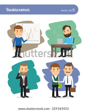 Cartoon businessman set. Man in business suit and presentation, hands shaking and business letters - stock vector
