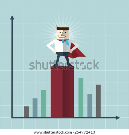 Cartoon businessman Superhero with a red cape, vector  illustration , flat design  - stock vector