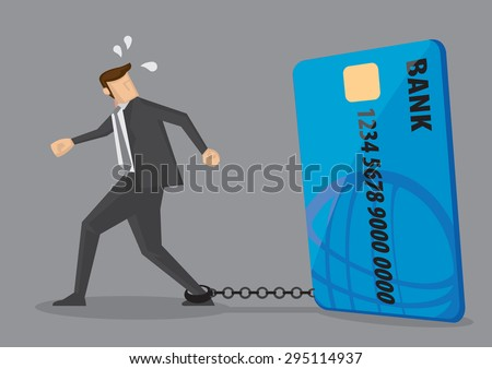Cartoon businessman with foot chained to bank credit card trying to escape. Creative vector illustration on credit card debt concept isolated on grey background. - stock vector