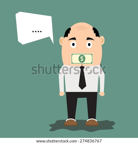 Cartoon businessman with money on his mouth as concept of business secret. vector illustration. - stock vector