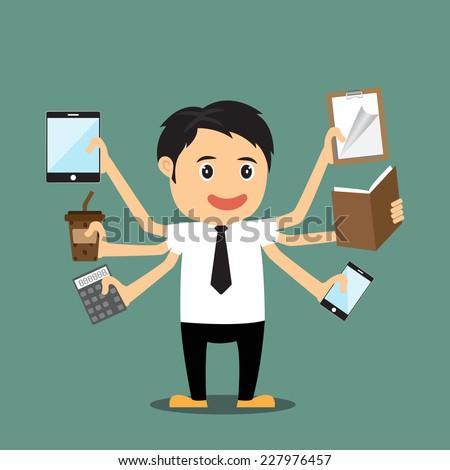 Cartoon businessman with multi tasking and multi skill, vector illustration. - stock vector
