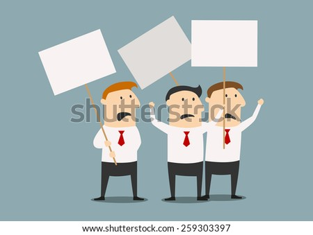 Cartoon businessmen at the meeting with posters for strike concept design, flat style - stock vector