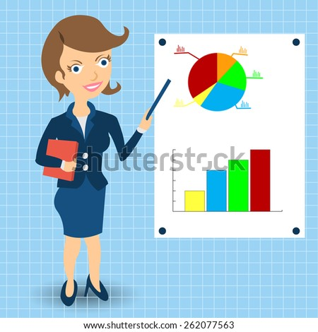 Cartoon businesswoman is explaining something in front of statistic graphs. - stock vector