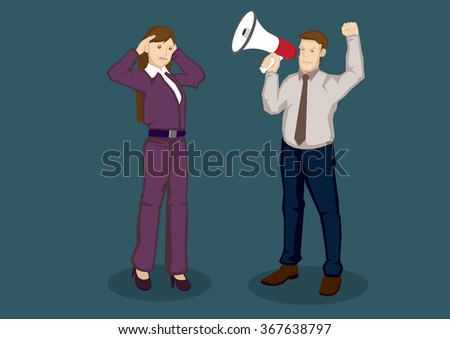 Cartoon businesswoman using hands to cup her ears and businessman using megaphone to speak to her. Vector cartoon illustration isolated on green background. - stock vector
