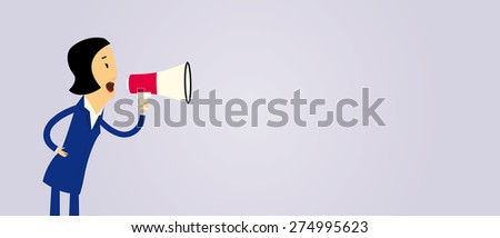 Cartoon businesswoman yelling with a megaphone - stock vector