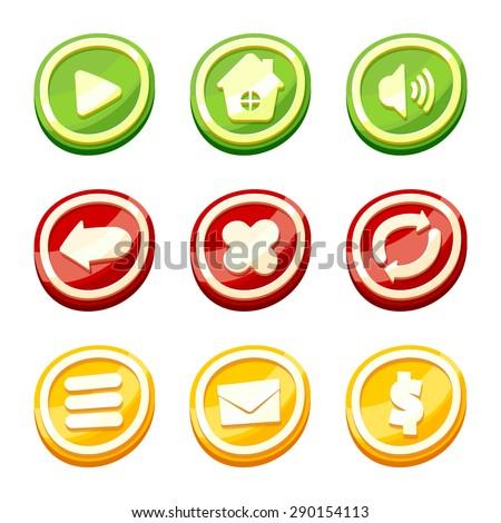 Cartoon buttons set - stock vector