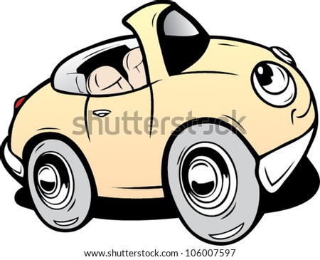 Cartoon cabriolet - stock vector
