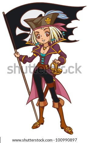Cartoon captain pirate girl with pirate flag - stock vector
