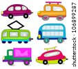 cartoon car auto icons set. transport vehicle collection - stock vector