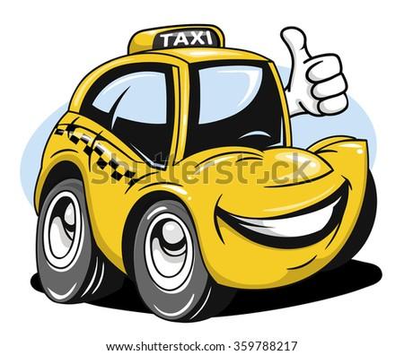 Cartoon car giving a thumbs up - stock vector