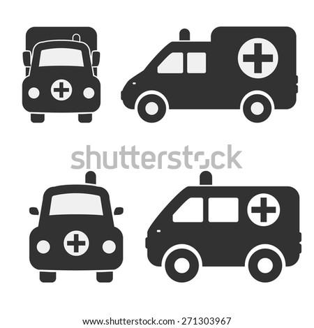 Cartoon Car Icons Silhouetted. Ambulance Car - stock vector