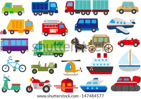 cartoon car, truck, submarine, ship, plane - stock vector