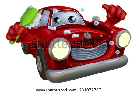Cartoon car wash mascot man with a happy face giving a thumbs up and scrubbing himself clean with a brush covered in soap suds - stock vector