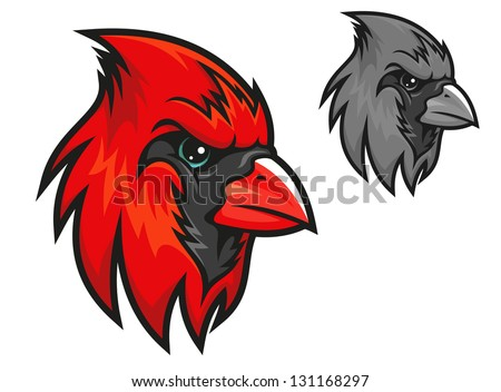 Cartoon cardinal birds head in profile with a short sharp beak and beady eye in two different colour variations isolated on white. Jpeg (bitmap) version also available in gallery - stock vector
