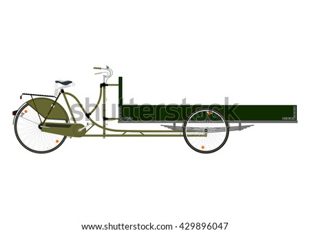 Cartoon cargo bike or rickshaw on a white background. Flat vector - stock vector