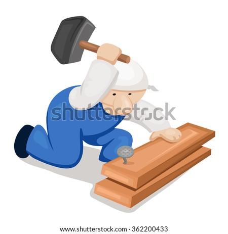 Cartoon carpenter with hammer - stock vector