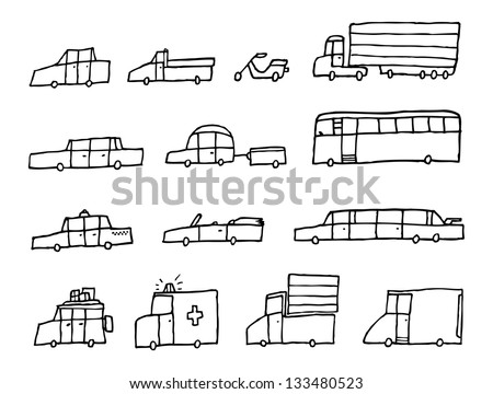 Cartoon cars / Funny transportation vehicles - stock vector