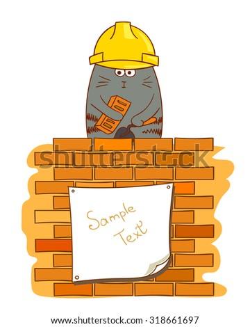 Cartoon cat bricklayer. Funny construction worker near brick wall. Vector illustration.  - stock vector