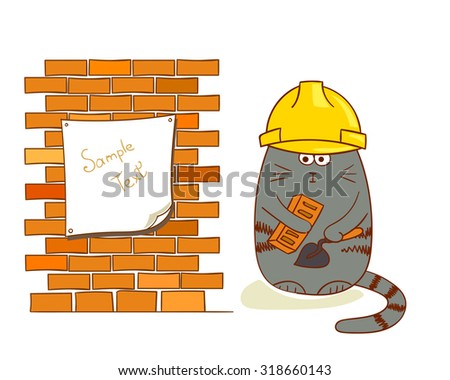 Cartoon cat builder near brick wall. Funny construction worker isolated on white. Bricklayer vector illustration.  - stock vector