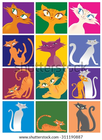 Cartoon cat of different pose and color - stock vector