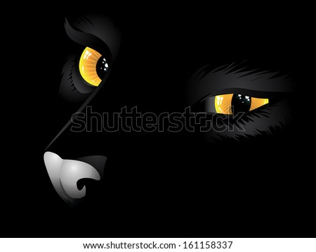 Cartoon cat with yellow eyes on black background. - stock vector