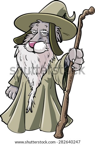 Cartoon cat wizard with staff. Isolated on white - stock vector