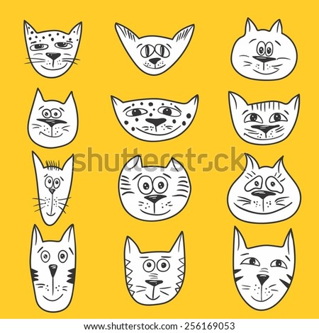 Cartoon cats set | Vector sketch emotional smiling cat faces icons - stock vector