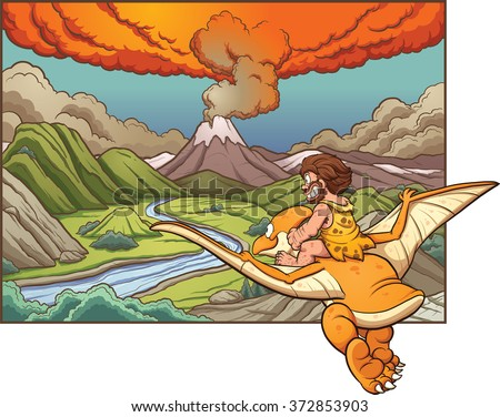 Cartoon caveman riding a pterodactyl towards a volcano. Vector clip art illustration with simple gradients. Background and caveman on separate layers.  - stock vector