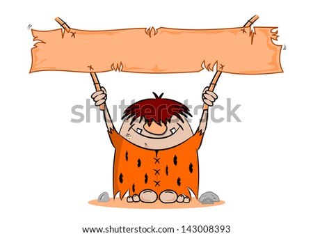 Cartoon caveman with blank banner on a white background - stock vector