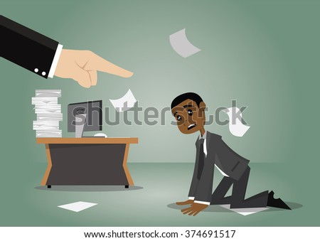 Cartoon character, Big hand boss is Angry and blame African businessman., vector eps10 - stock vector