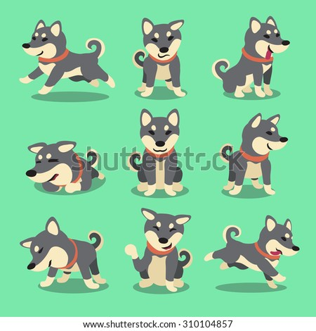 Cartoon character black shiba inu dog poses - stock vector